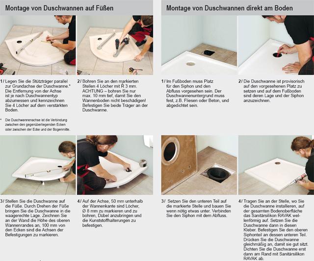 richtiger einbau der duschwannen und ablaufrinnen ravak at. Black Bedroom Furniture Sets. Home Design Ideas